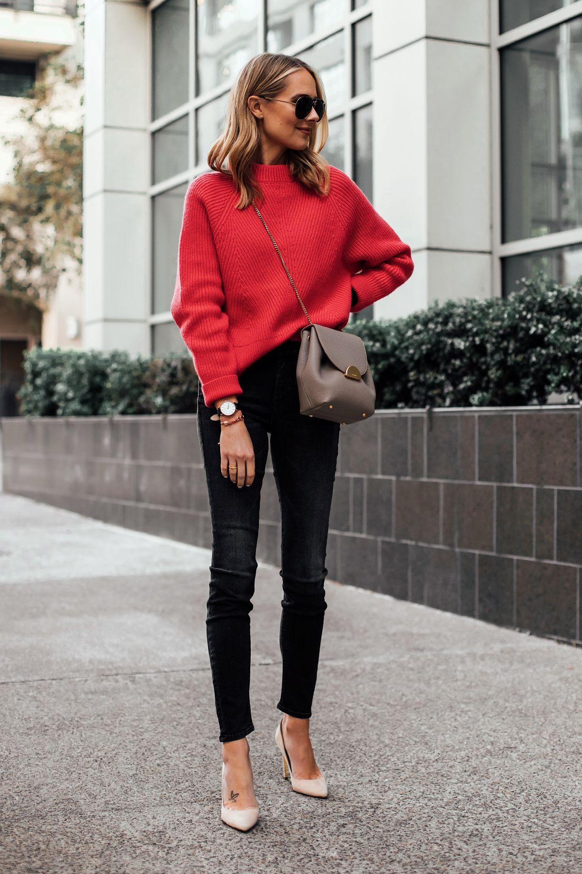 Blonde Woman Wearing AllSaints Red Sweater Mother Looker Black Jeans Nude Pumps …