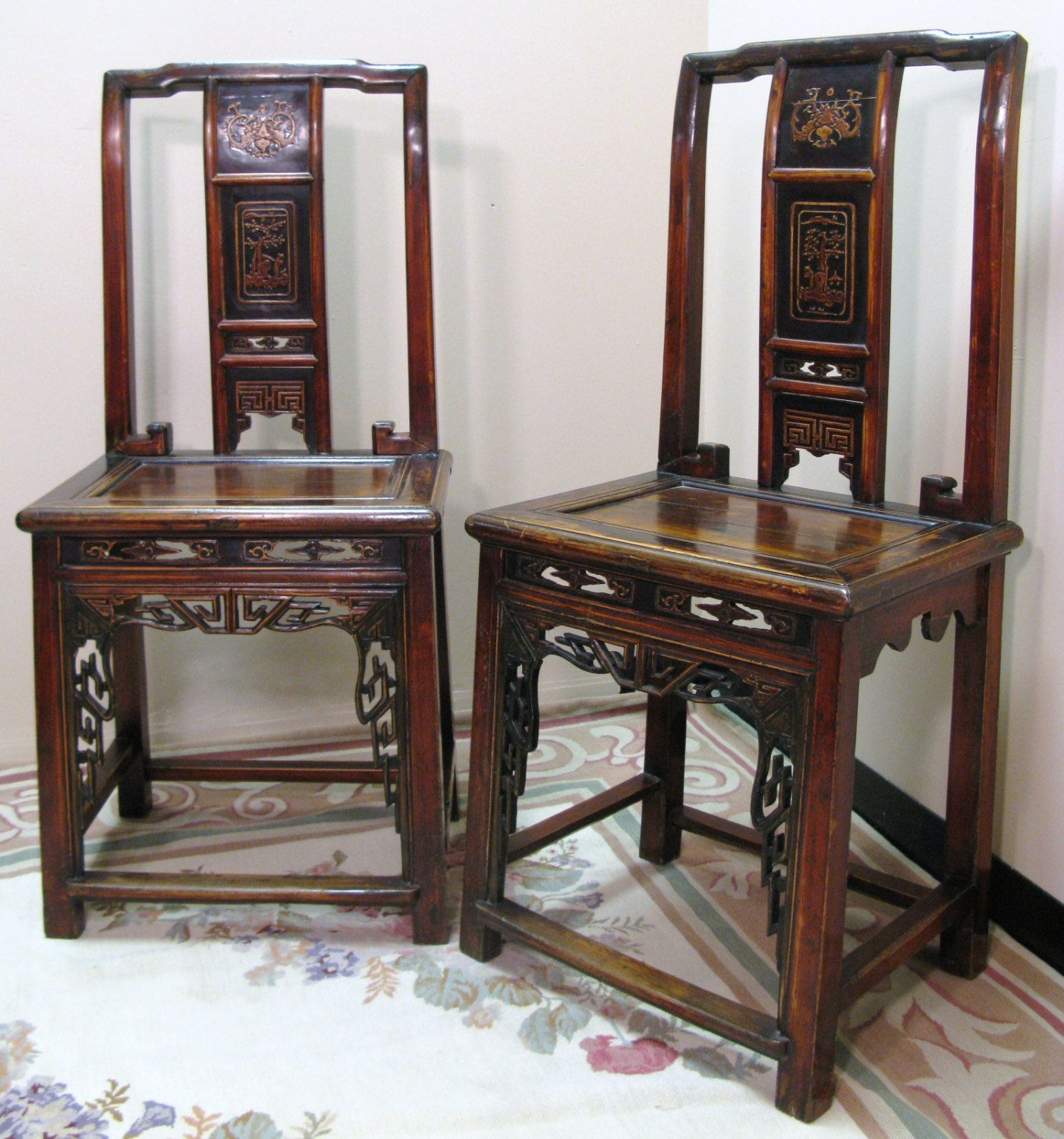 Chinese Export ~ Hardwood ~ STRAIGHT BACK CHAIRS ~ Antique Reproductions ~ Ornate Carved ~ Dining ~ Foyer ~ Bedroom by Findmichael on Etsy
