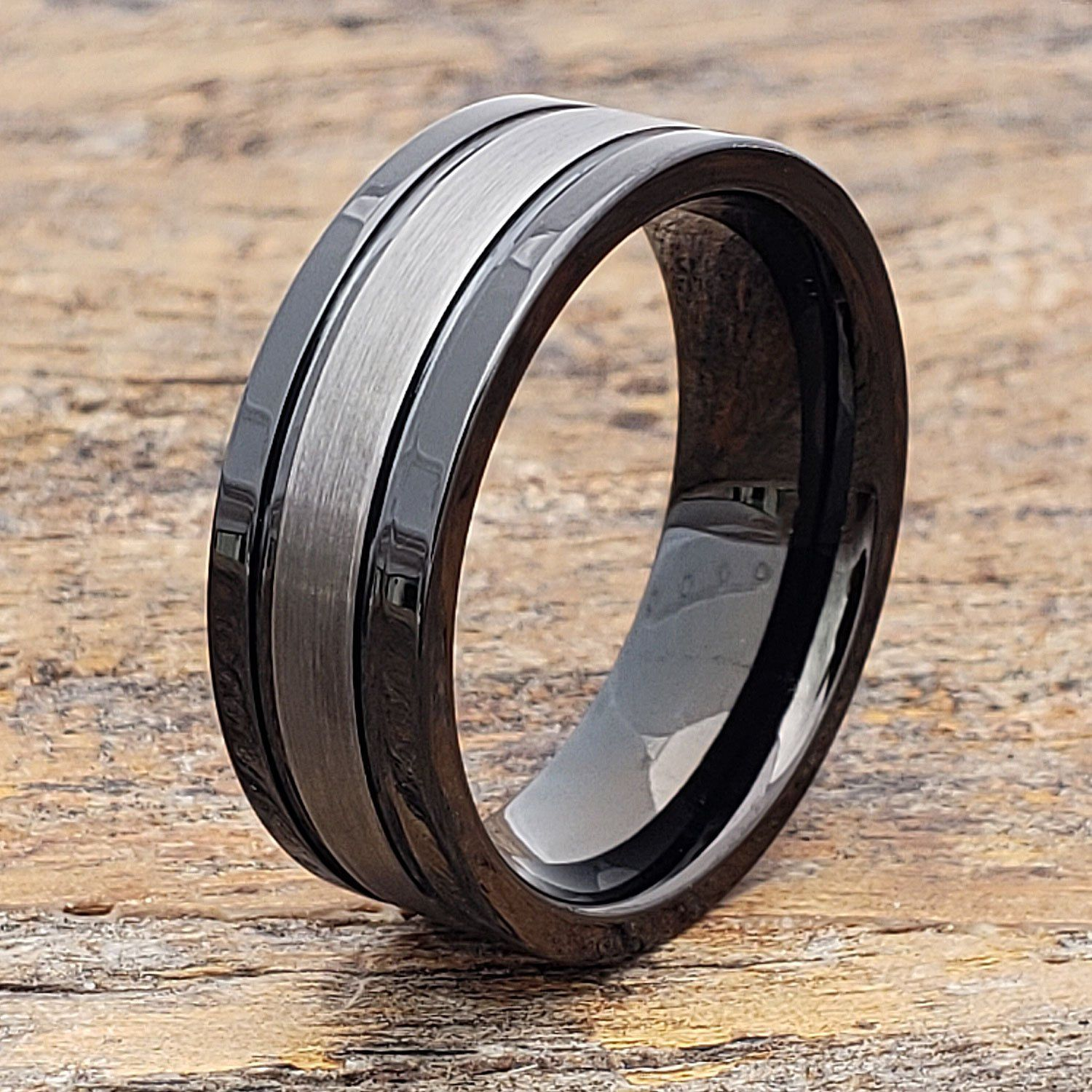 Blacksnow Black Tungsten Carbide Wedding Band With A Brushed Finish 4mm 12mm Black Tungsten Rings Tungsten Carbide Wedding Bands Tungsten Wedding Bands
