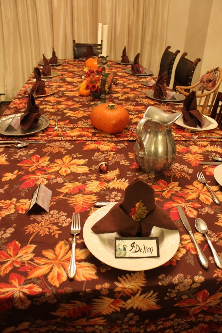 Decoration Beautiful Home With Thanksgiving Dinner Table Setting Wit Plates Also Spoon Plus Fork And