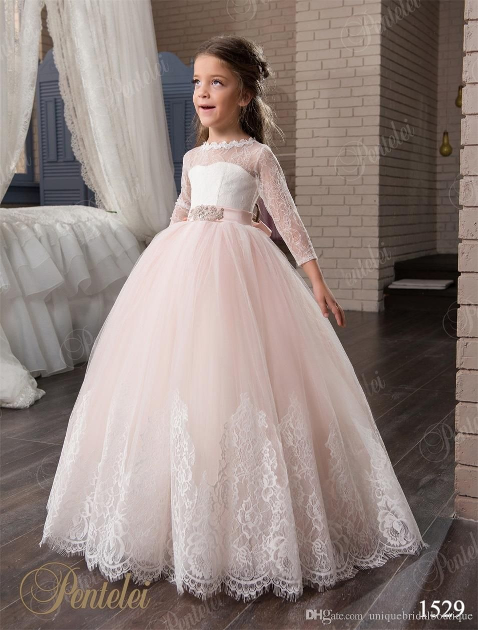 Blush Flower Girls Dresses with 3/4 Long Sleeves and Beaded Belt ...