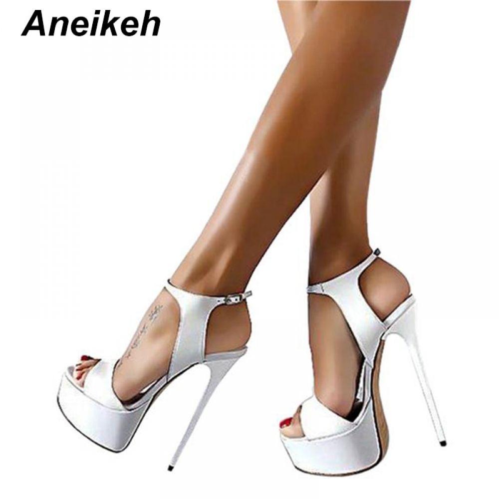 8255f57d8cdb Aneikeh Big Shoe Size 41 42 43 44 45 46 High Heels Sandals Summer Sexy Open