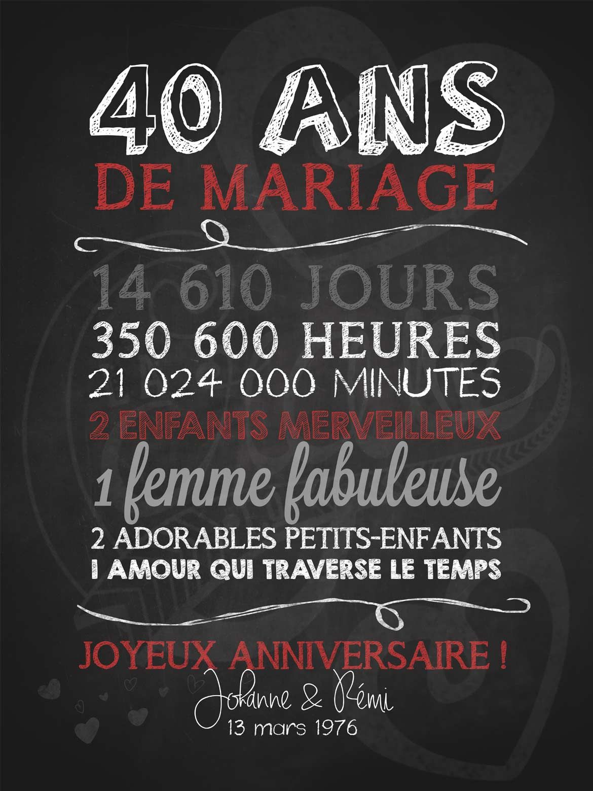 bien aim faire part anniversaire de mariage 40 ans pi61 montrealeast. Black Bedroom Furniture Sets. Home Design Ideas