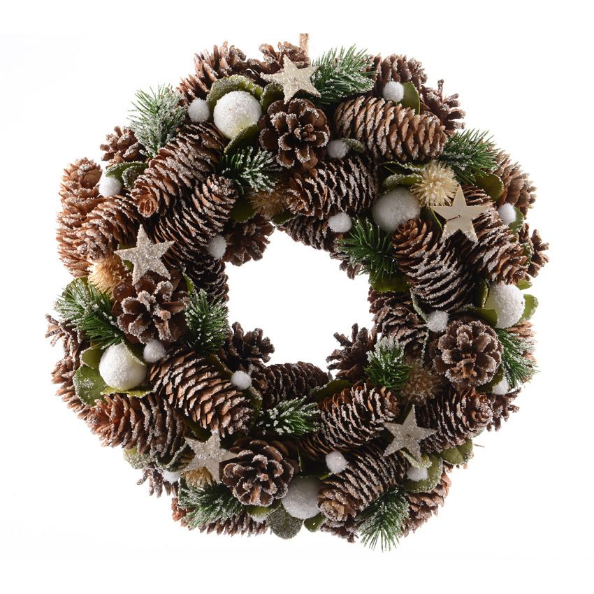 Eminza Noel Couronne de Noël décorée Etoilée   Couronne de Noël   Eminza