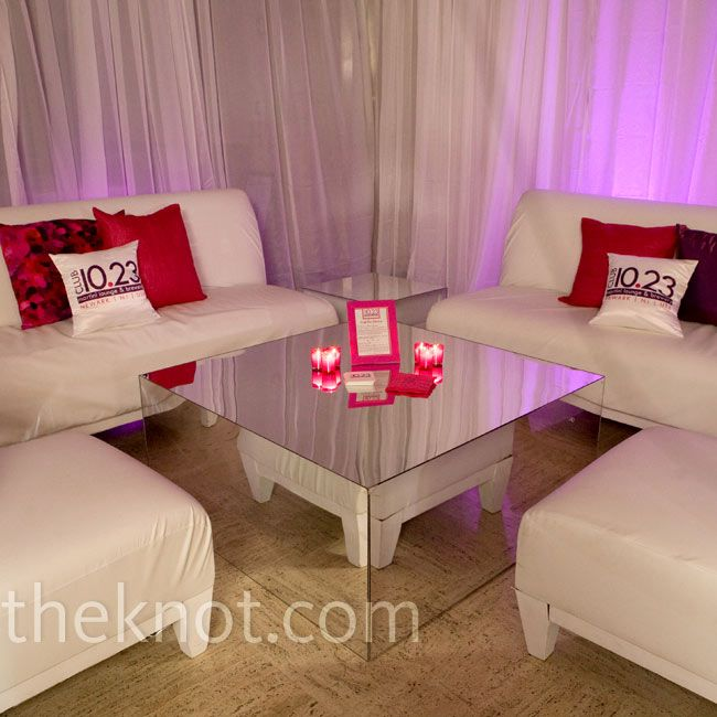 Modern Wedding Lounge Like use of mirror tables and white drape ...