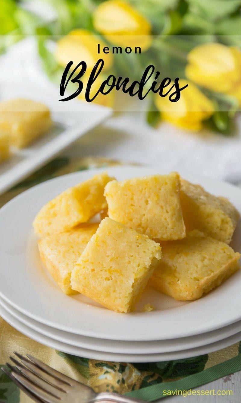 Tangy Lemon Blondies - a cross between a light and moist cake, and a sweet, tangy lemon bar. Super