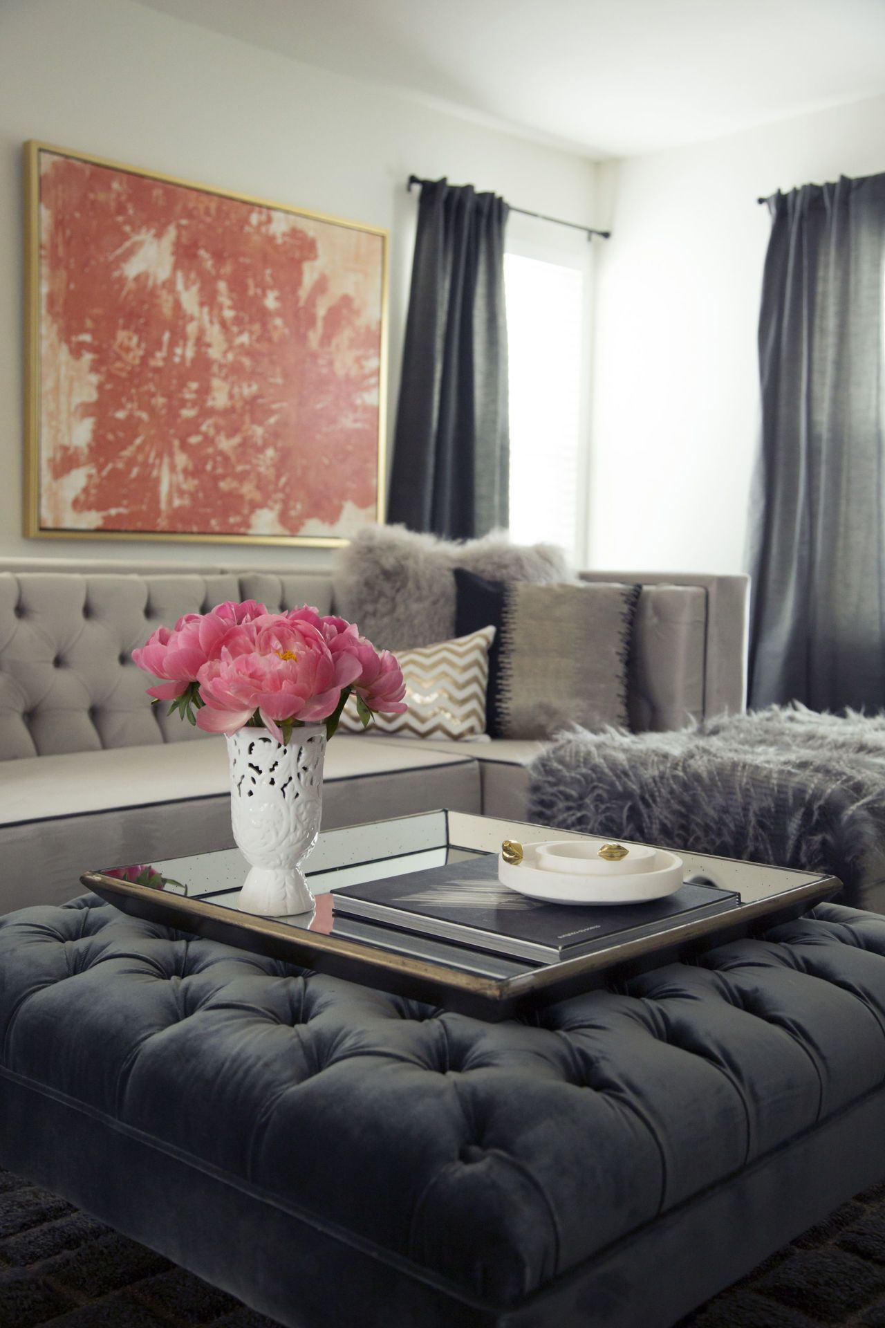 living room ottoman ideas neutral colors before after a fashion blogger turns her dark into see how remade glamorous retreat