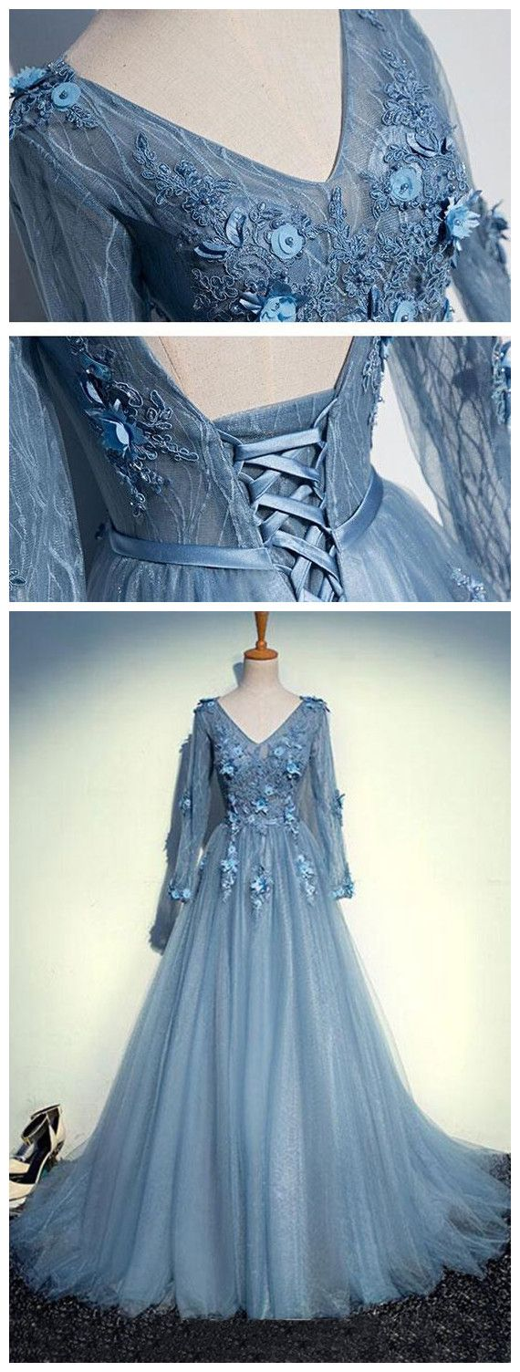 Long sleeve appliques tulle prom dresslong prom dressesprom