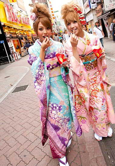 54d2f2c28fe Kimono Nagoya — Two girls in modern pastel furisode in what might ...