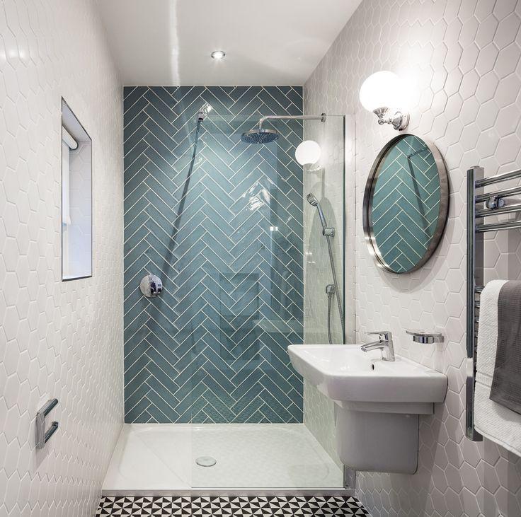 Ocean Glass 4 X 12 Subway Tile Small Bathroom Designs With Shower Small Bathroom Storage Small Bathroom Tiles Small Bathroom Remodel Bathroom Interior