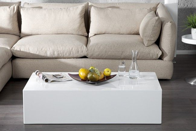 Design Couchtisch MONOBLOC XL 100cm hochglanz weiss Couchtisch - wohnzimmertisch wei rund