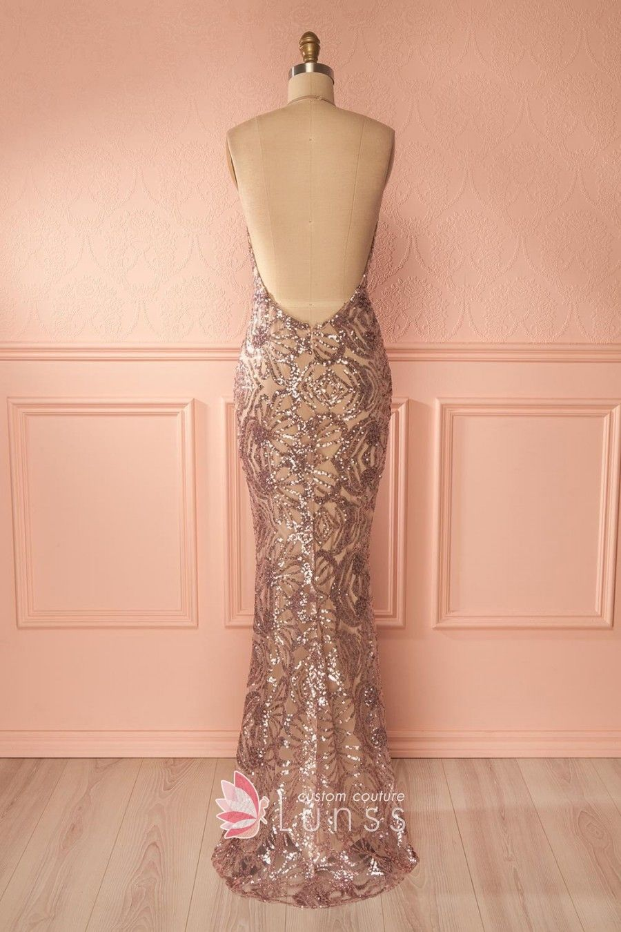 Dazzling gold sequin plunging vneck halter mermaid long evening