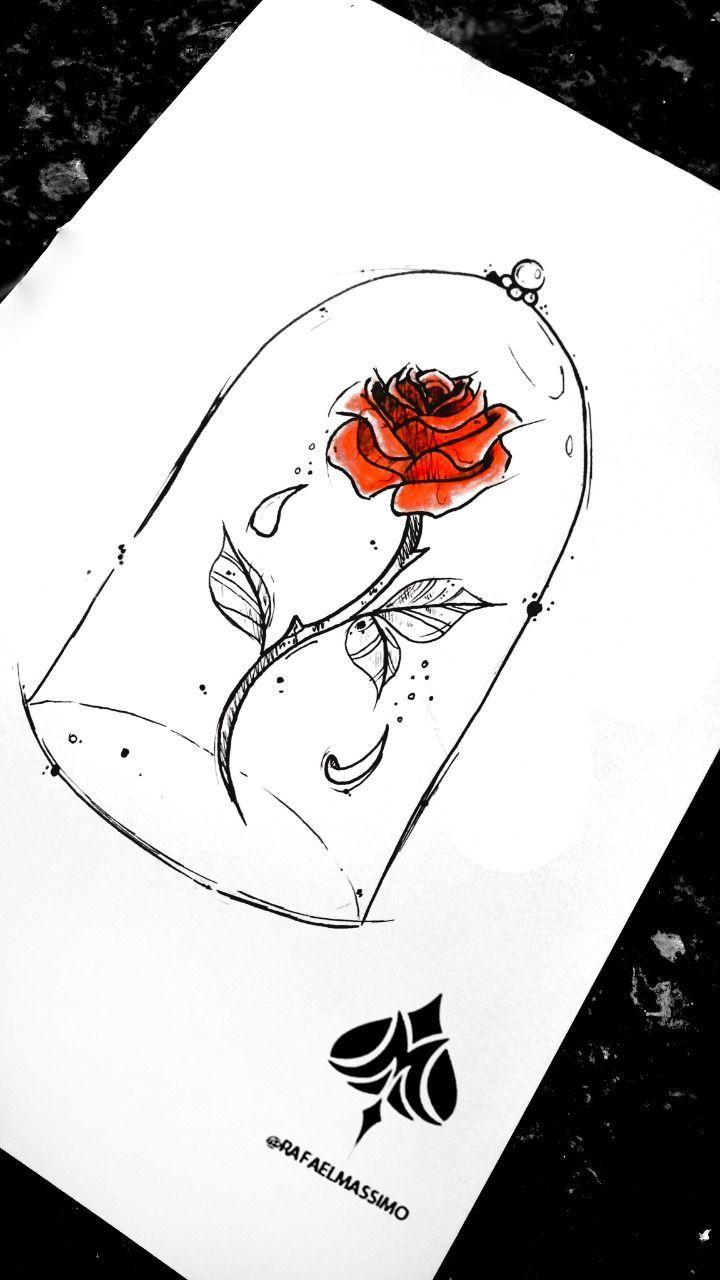 A rosa encantada    A rosa encantada Desenho exclusivo do artista Rafa Massimo. Tema: A  Bela e a Fera   #desenhosdetatuagens #encantada #fotosdetatuagens #ideiasdetatuagens #rosa