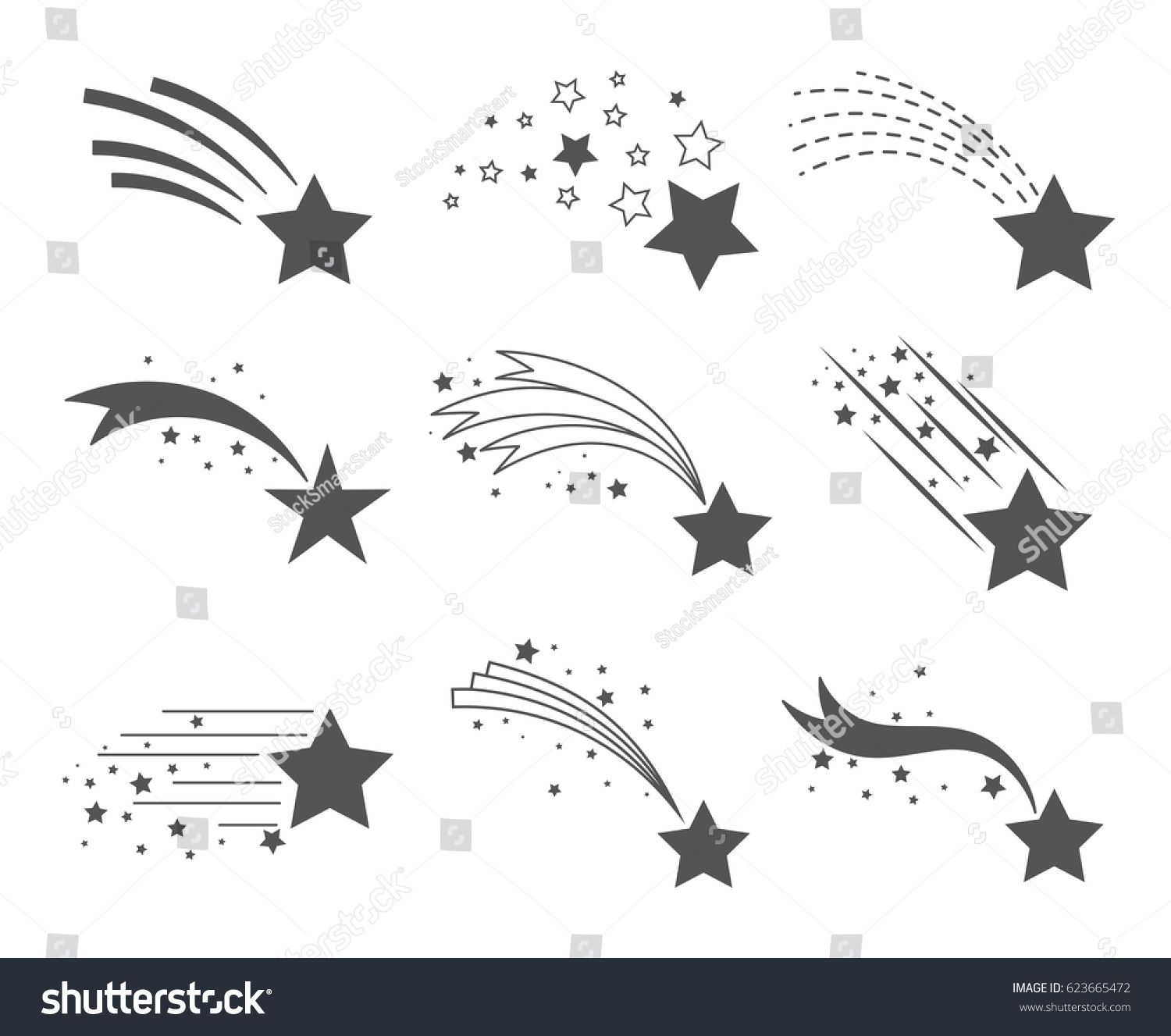 Shooting Stars Icons Comet Tail Or Star Trail Vector Set Isolated On White Background Stardust Shooting Star Tattoo Shooting Star Drawing Star Tattoo Designs