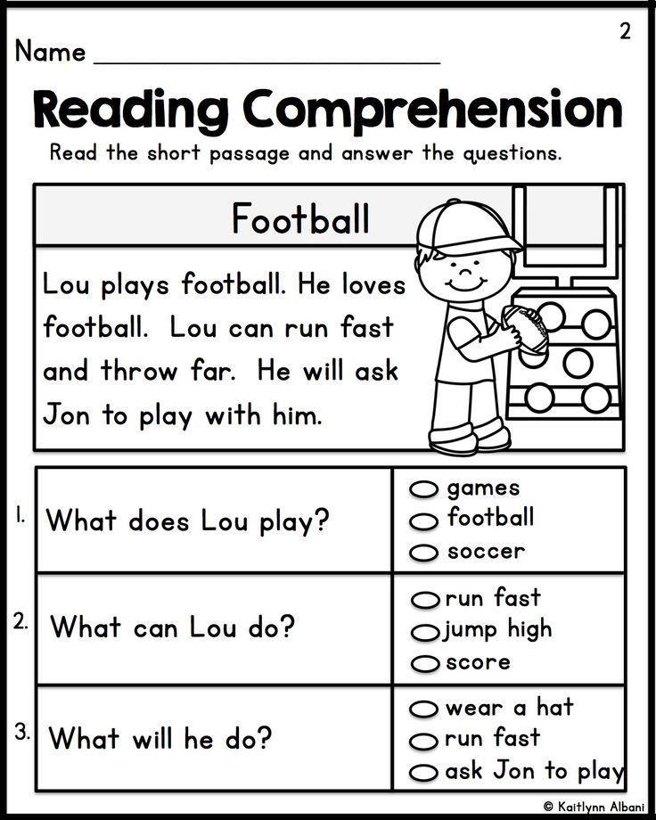 Free English Comprehension Worksheets Grade 1