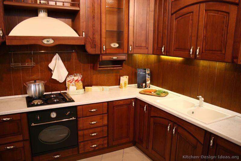 Traditional Dark Wood Cherry Kitchen Cabinets 16 Kitchen