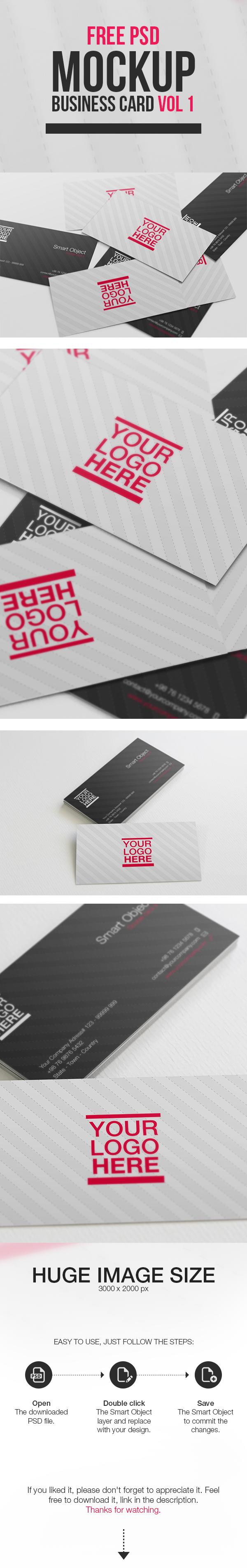 Free PSD Mockup - Business Card Vol 1 on Behance | Free stuff ...