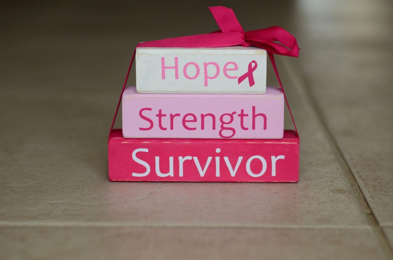 Breast cancer awareness wood block stack hope by rutherfordwoods