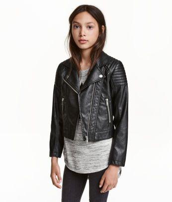 Lederjacke H&M Mädchen schwarz