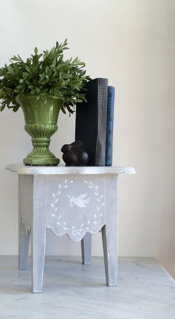 French Country Decorative Step Stool Paris Grey By Onalark