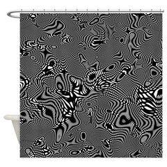 Black and white chic geometric pattern Shower Curt