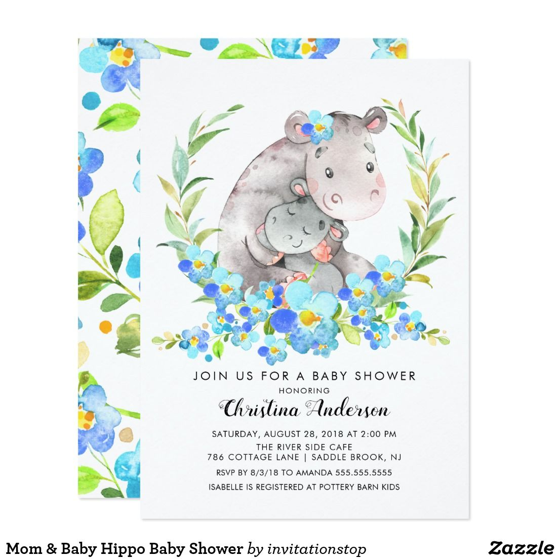 Mom & Baby Hippo Baby Shower Invitation | Zazzle.com #babyhippo