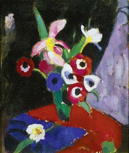 Hermann Stenner (1891-1914)  Blumenstillleben auf schwarzem Grund II, 1913