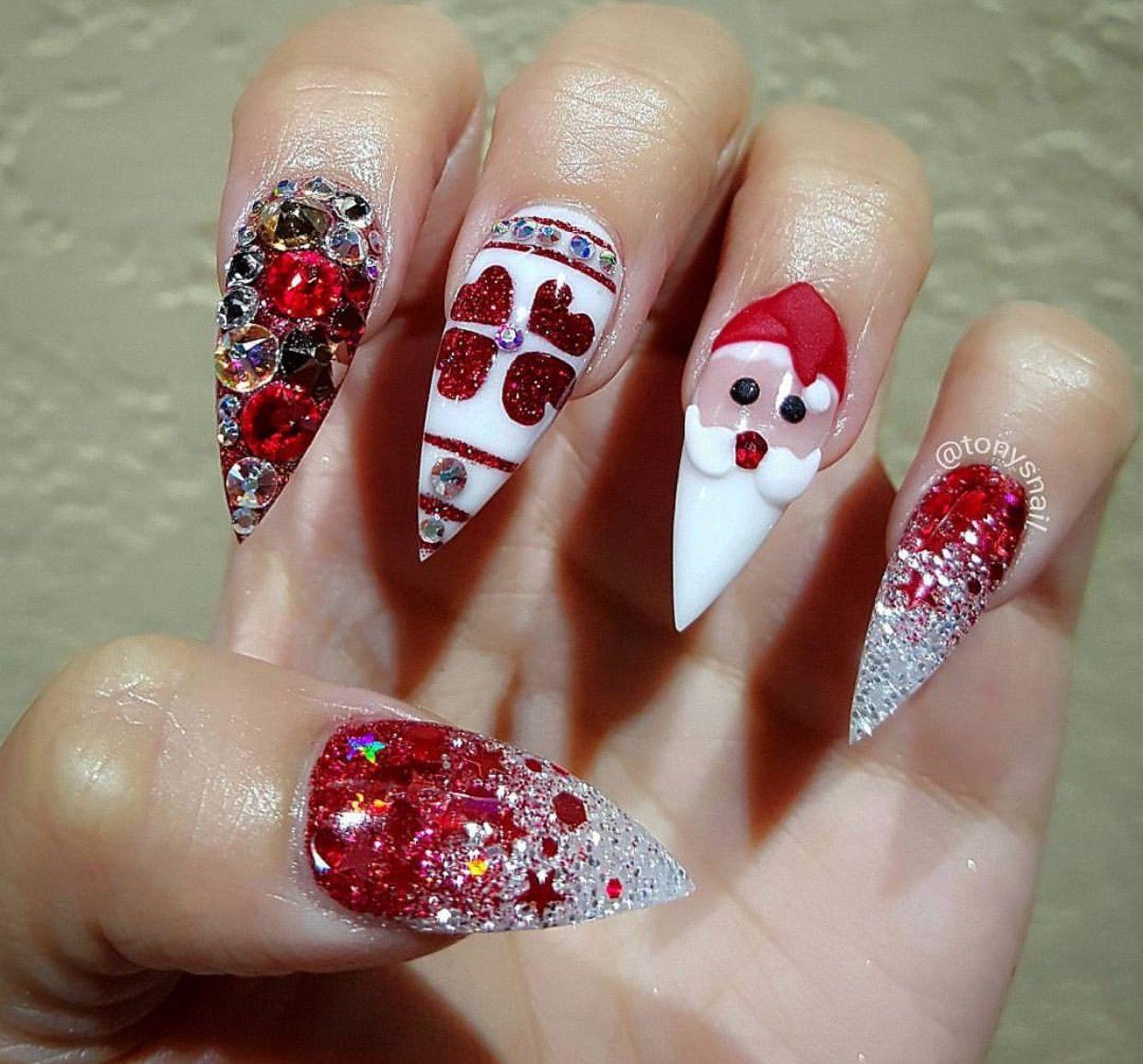Christmas Stiletto Nails.Custom 3d Christmas Stiletto Nails Winter