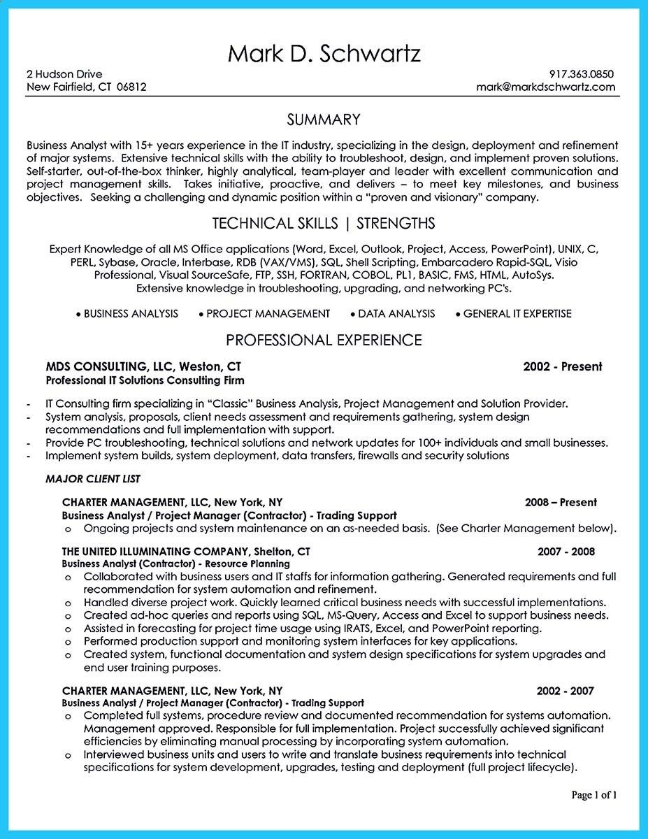 System Analyst Resume Awesome Create Your Astonishing Business Analyst Resume And Gain The .