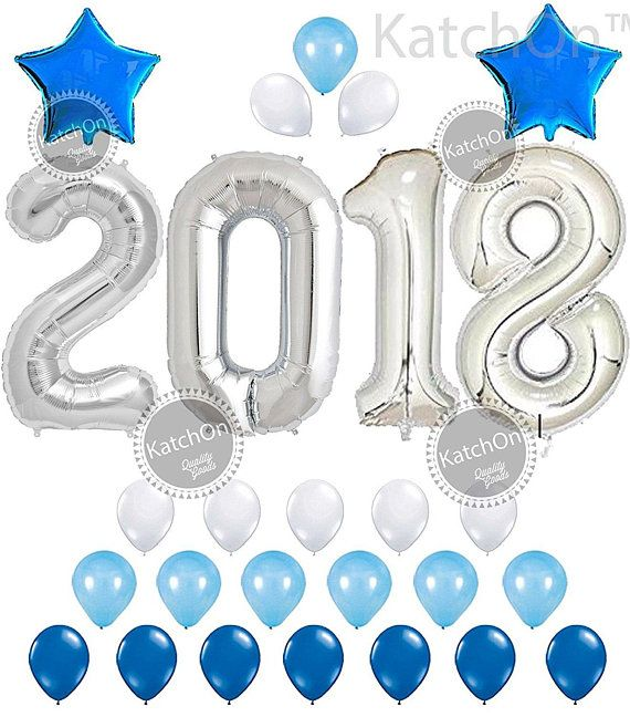 """2018 Balloons, Silver and Blue Decorations Kit - Large 40"""" 