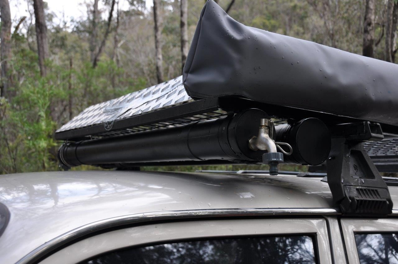 PVC water tank on the roof racks