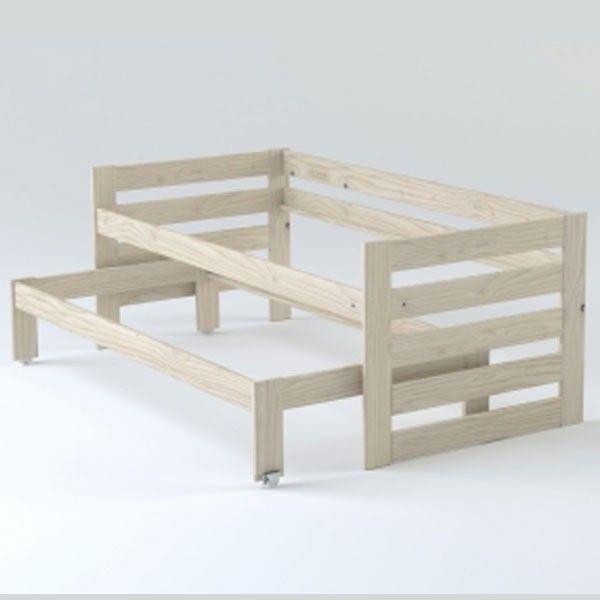 Cama compacta de 3 pisos en madera pulida - Estructura   Camas ...