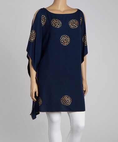 Look what I found on #zulily! Navy Embroidered Cutout Cape-Sleeve Tunic - Plus by Highness NYC #zulilyfinds