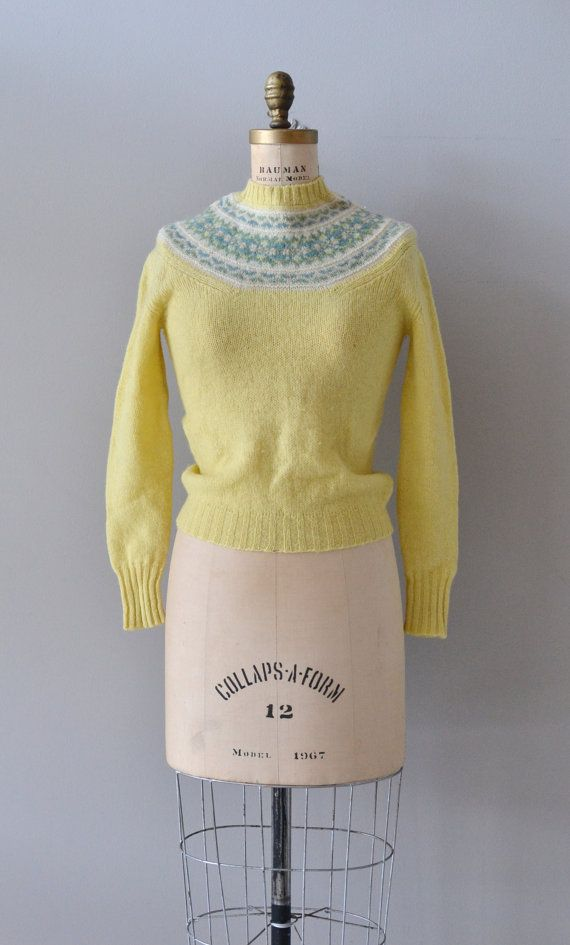 Spring Ahead sweater / vintage fair isle sweater / yellow wool ...