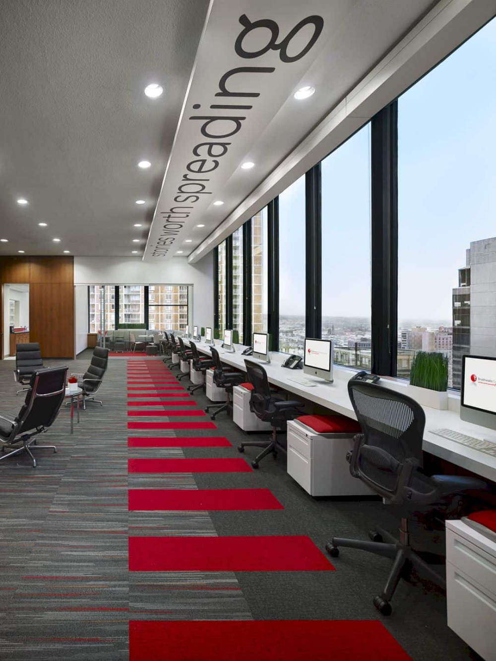 Office Interior A Contemporary Modern Workspace Of The Design Studio In 2020 Commercial Office Design Office Space Design Corporate Office Design