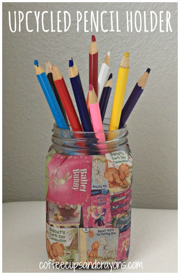 Easy kids craft upcycled pencil holder pencil holder Cool pencil holder ideas
