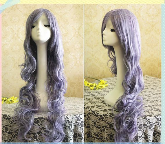 90cm long light purple wigs rozen