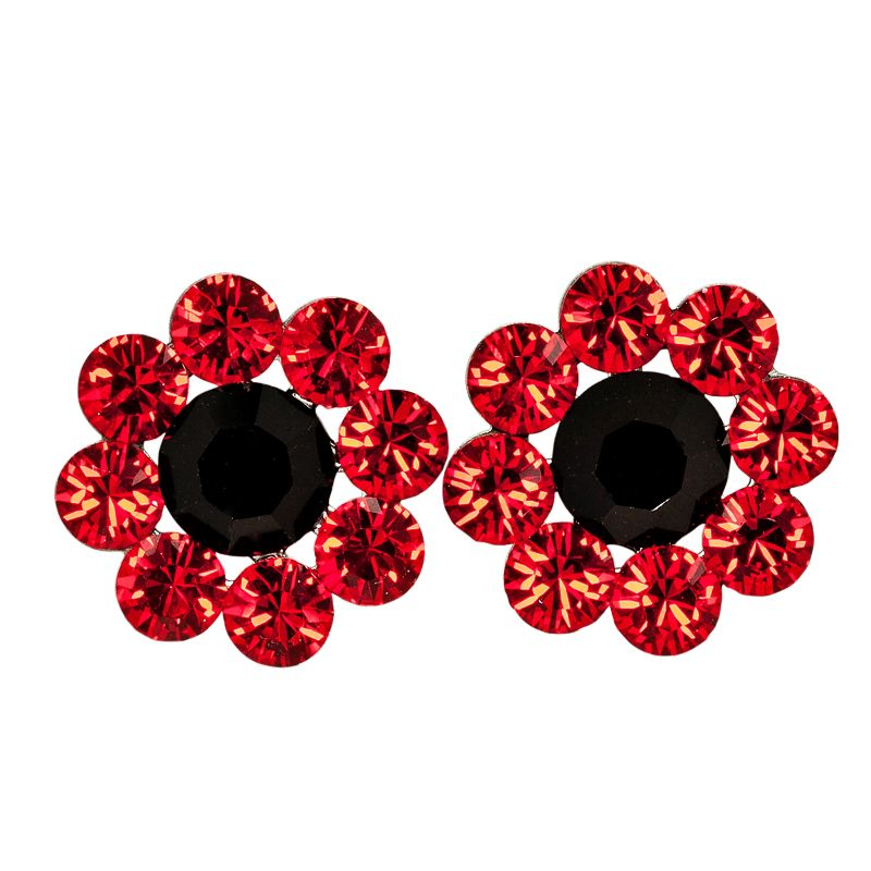 Large Daisy Post Earrings in Red/Black
