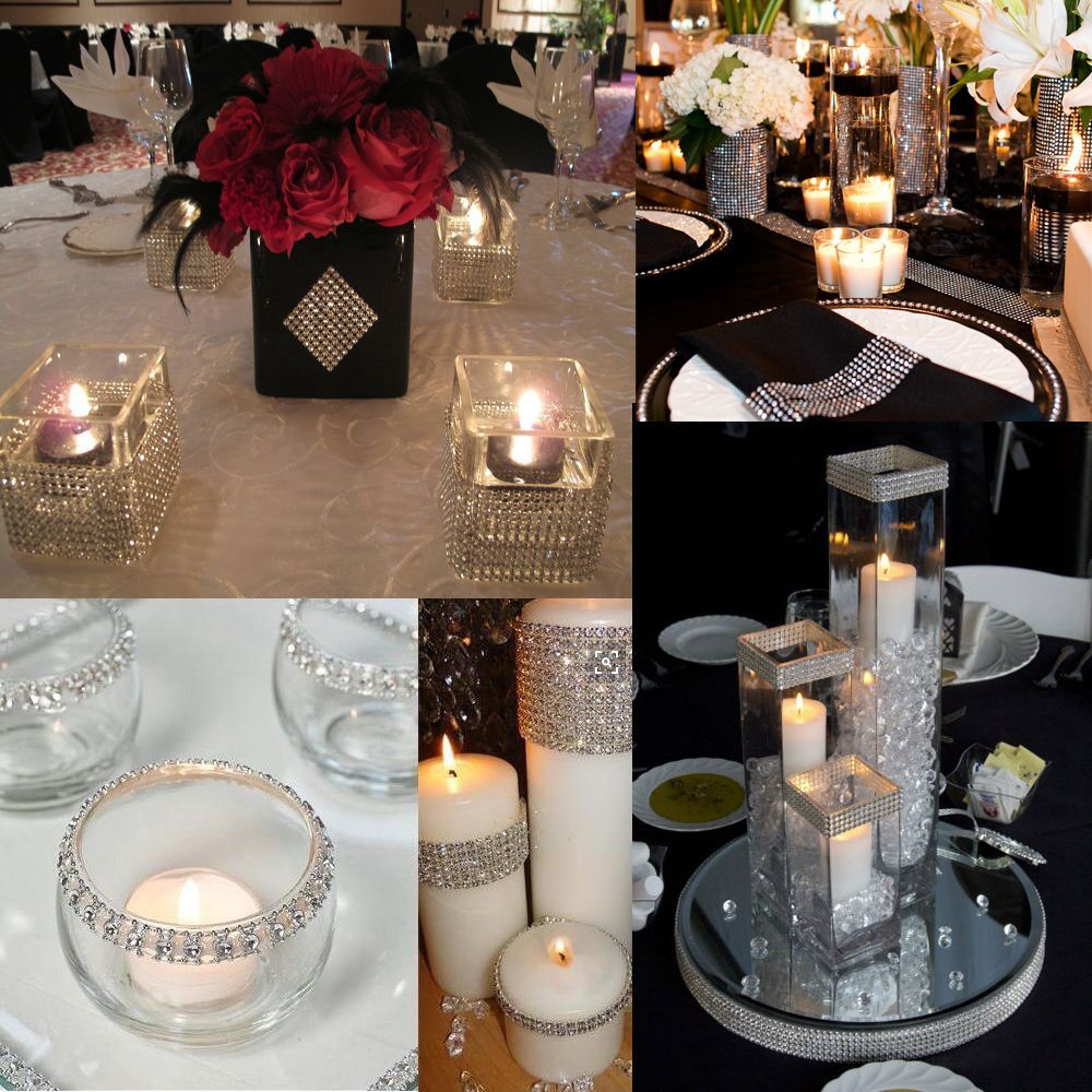 1m Diy Silver Diamond Mesh Rhinestone Wraps Ribbon Wedding Bridal Party Decor In Home Garden Supplies Centerpieces Table Ebay