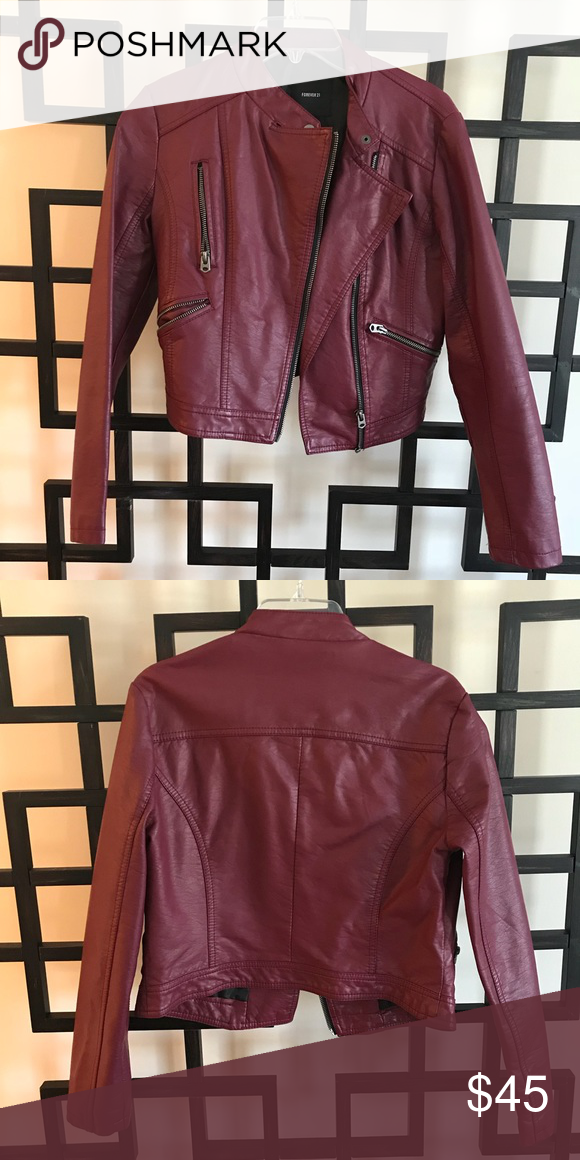 Forever 21 red leather jacket Red leather jacket with
