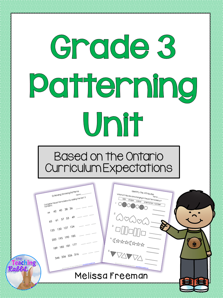 Patterning Unit Grade 3 Ontario Curriculum Math Patterns 3rd