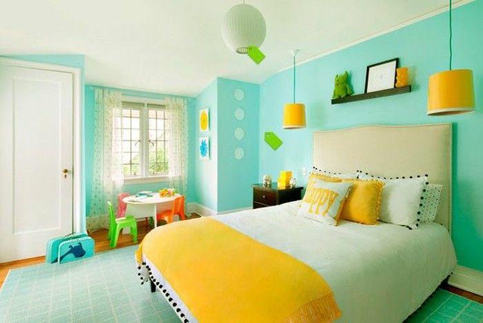 inspiration couleur pour salon turquoise jaune vert | chambre d ...