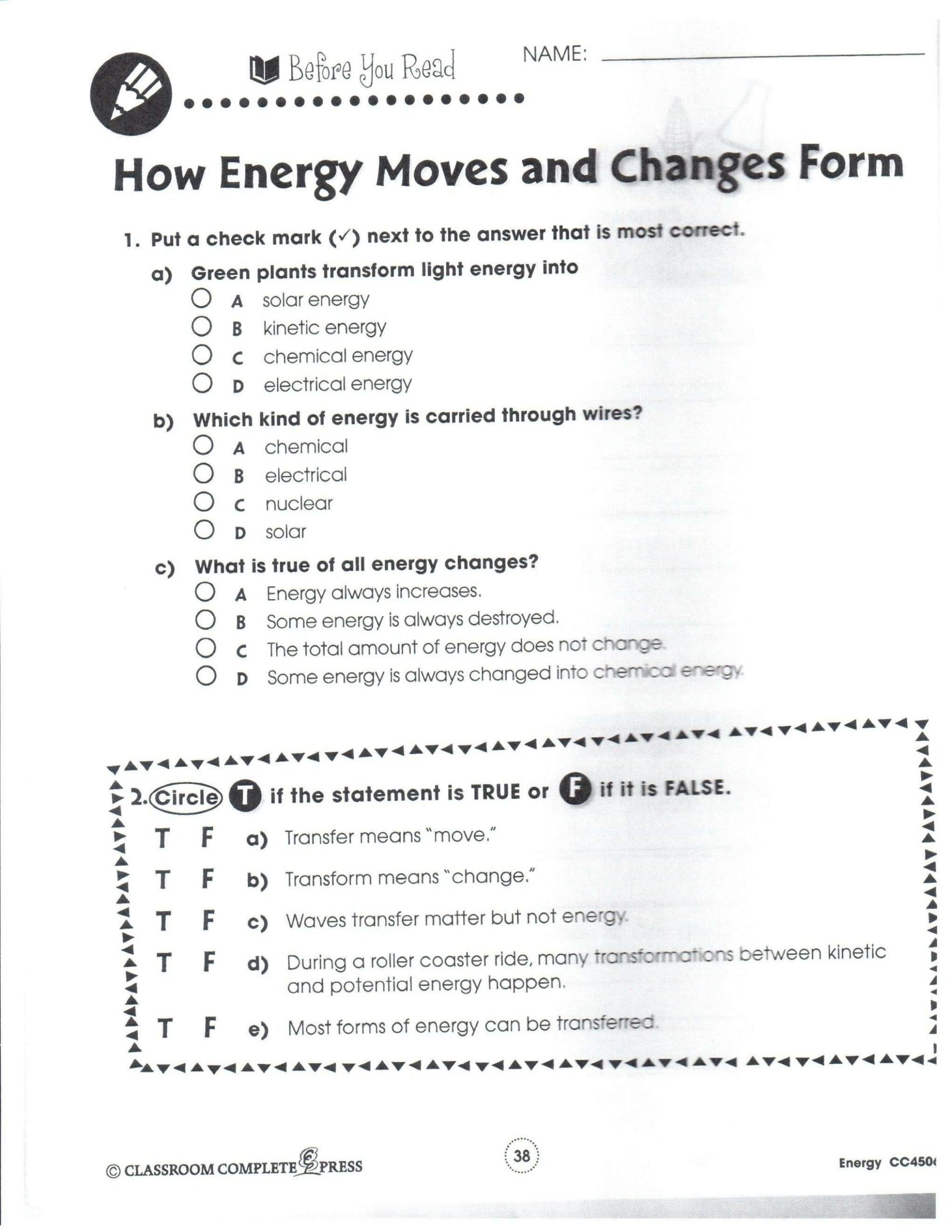 6 Academic Kinetic And Potential Energy Worksheet Kinetic