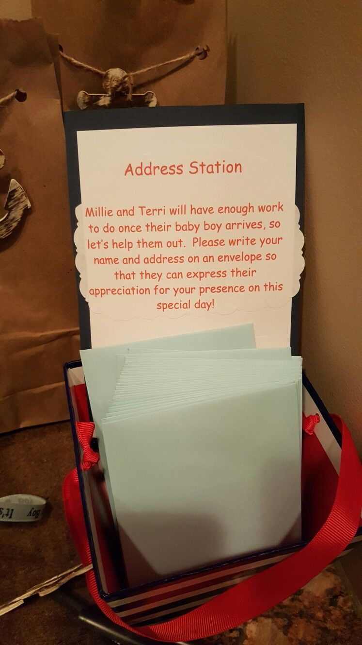 Address Station For Thank You Cards Baby Shower Nautical Theme
