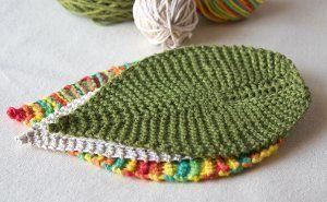 Leafy washcloth, dishcloth, or coaster.