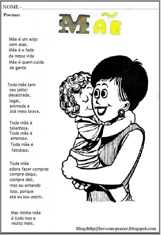 Poema E Poesias Dia Das Mães Escola Pinterest Education