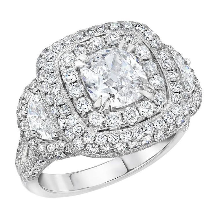 GIA Certified Cushion Diamond Gold Engagement Ring | From a unique collection of vintage engagement rings