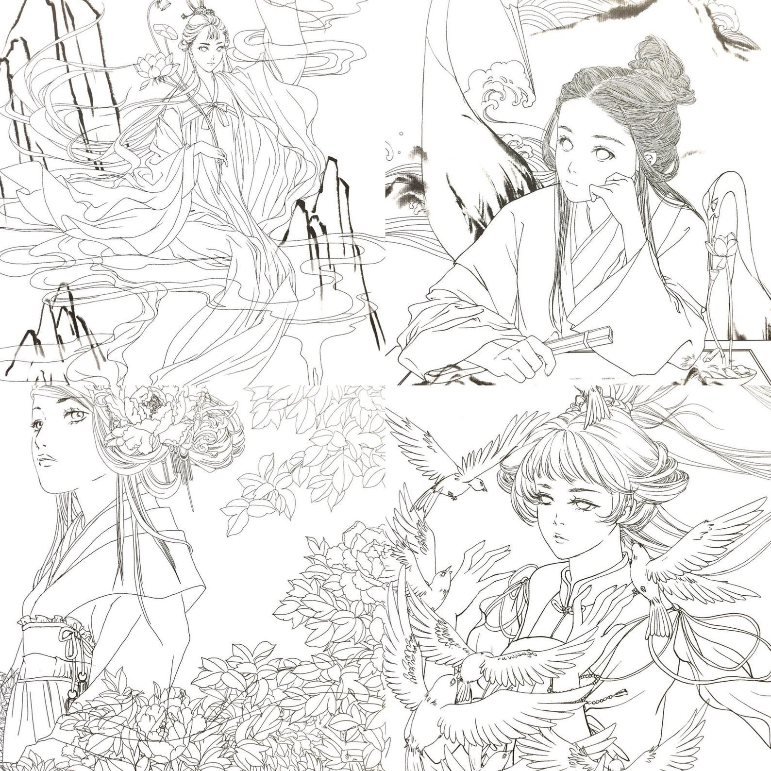 Hers Chinese Antiquity Coloring Book Etsy Coloring Books Fairy Coloring Pages Antique Books