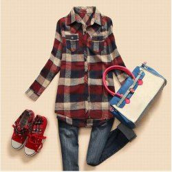 $10.30 Slimming Turn-Down Collar and Plaid Long Type Shirt For Female