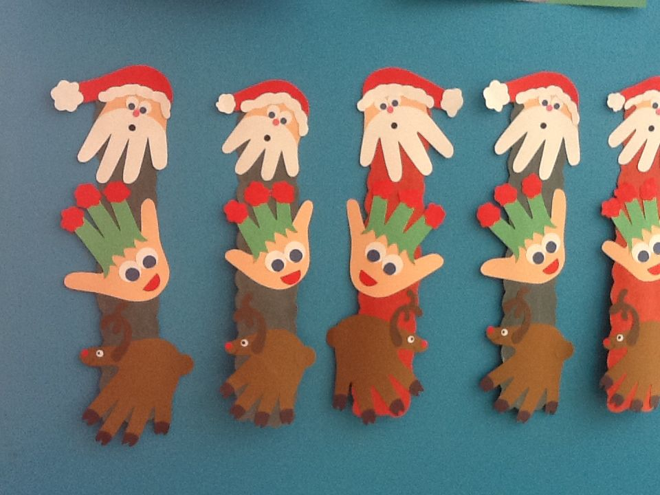 Handprint Christmas Craft Ideas Part - 22: Santa, Elf And Reindeer Handprint Christmas Craft. Infant/toddler Room.
